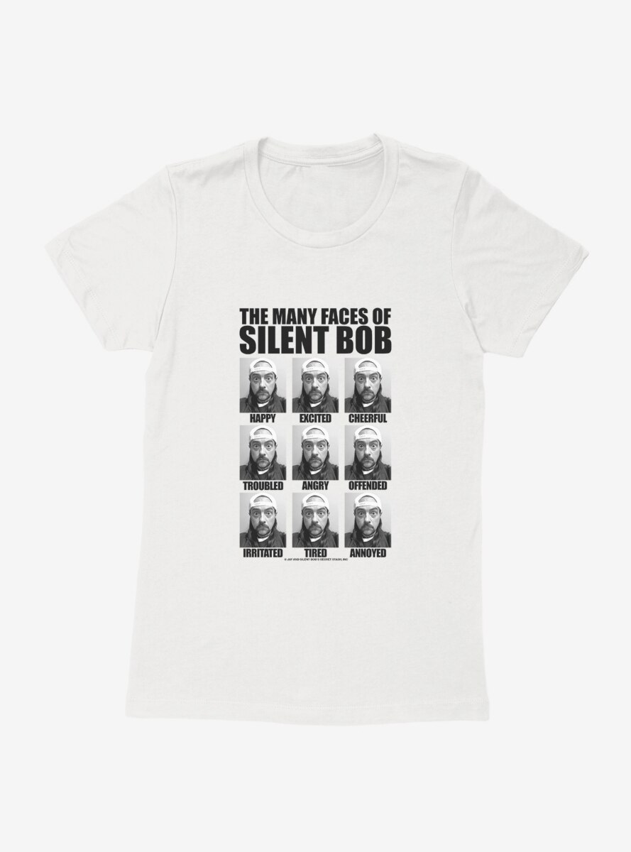 Jay And Silent Bob Reboot The Many Faces of Silent Bob Table Womens T-Shirt