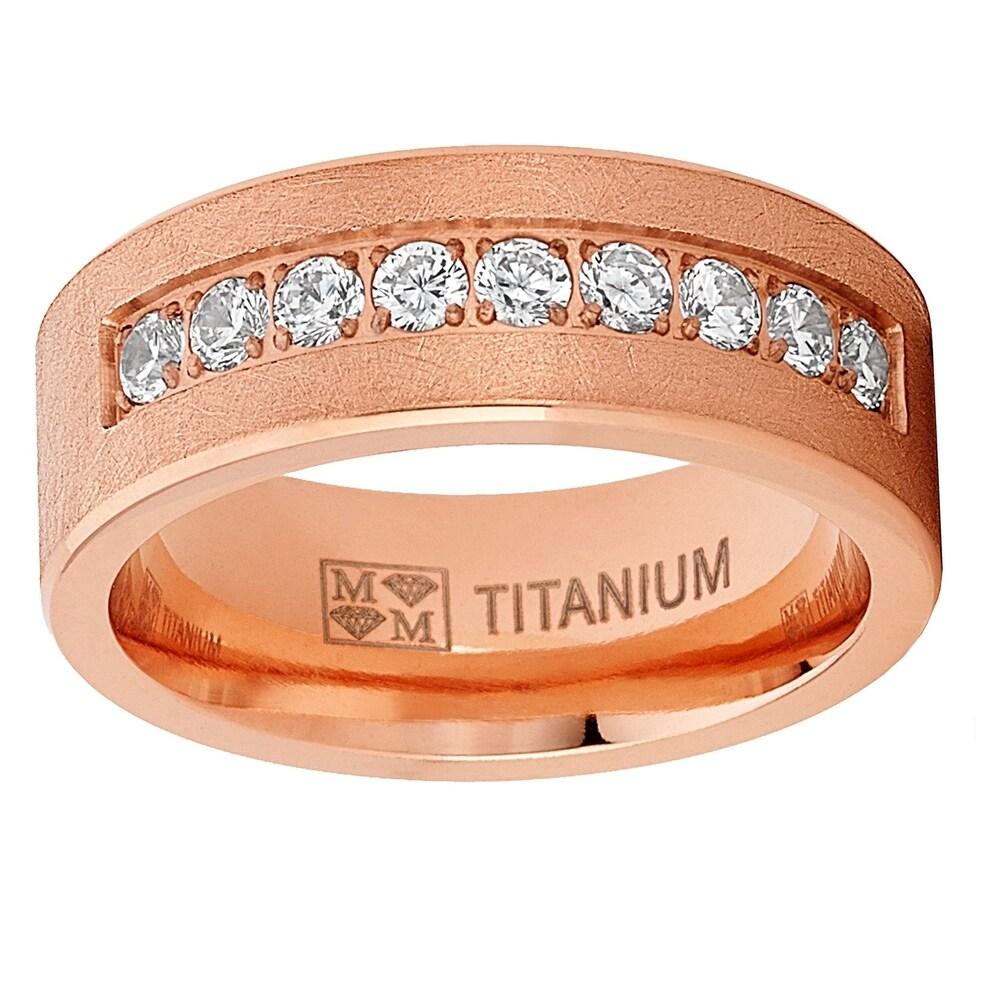 Oliveti  Men's Women's Rose Goldtone Titanium Wedding Band Ring Cubic Zirconia 8mm (13)