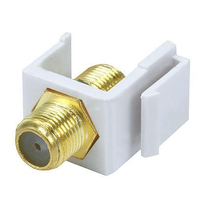 Modular F Type Keystone Jack - White - PrimeCables®