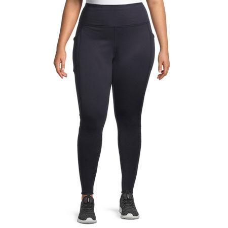 Xersion Womens High Rise Full Length Fleece Lined Leggings Plus, 3x , Blue