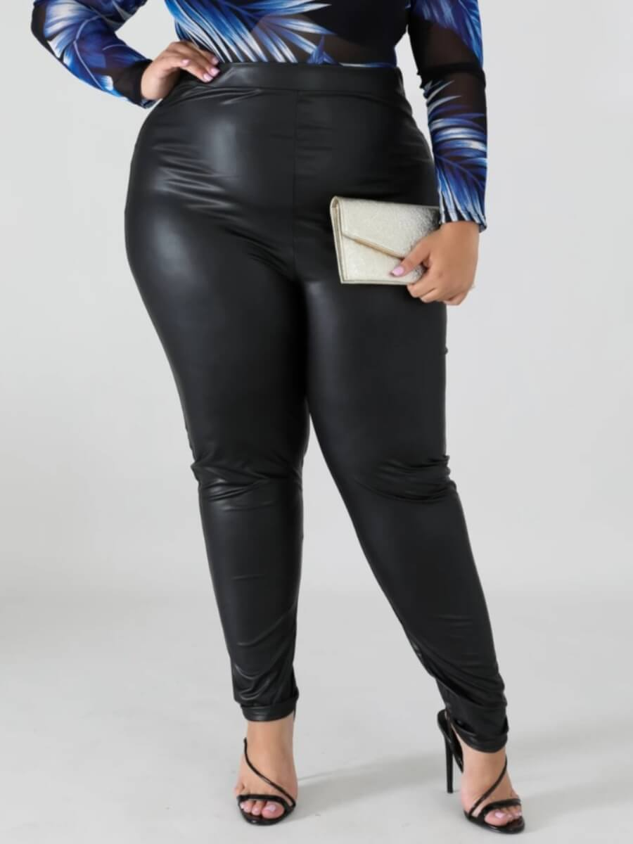 LW Lovely Casual High-waisted Elastic Black Plus Size Pants