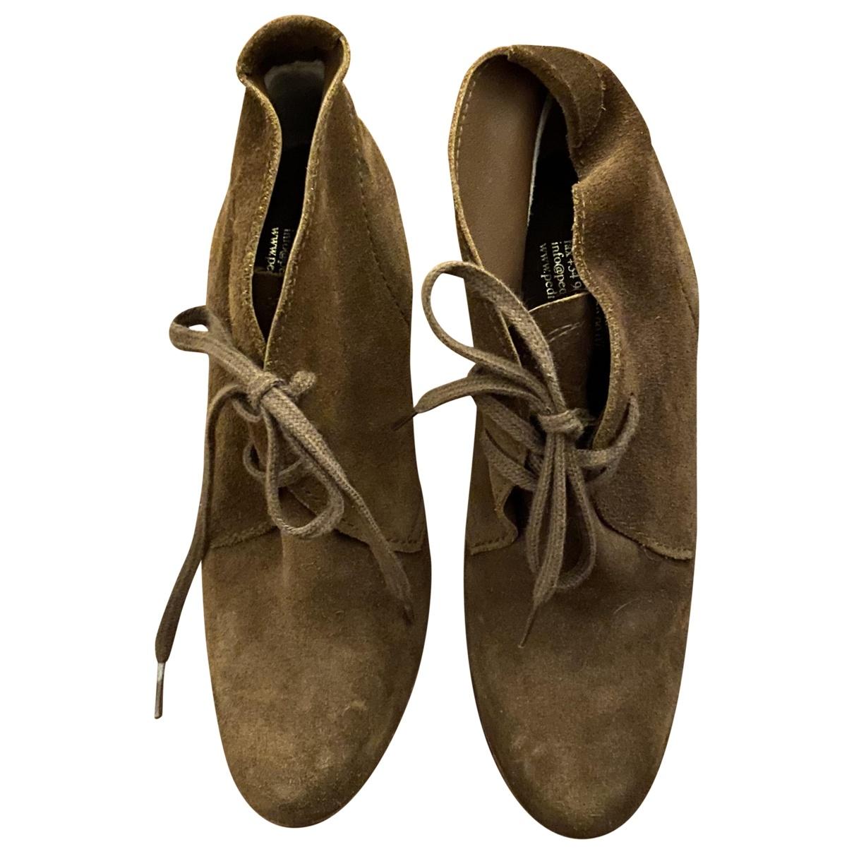 Pedro Garcia - Boots   pour femme en suede - marron