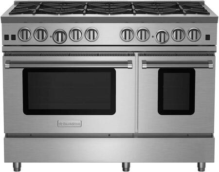 RNB488BV2LCC 48 RNB Series Freestanding Gas Range with 8 Cast Iron Open Burners  Convection Oven  Simmer Burner  Full Motion Grates  in