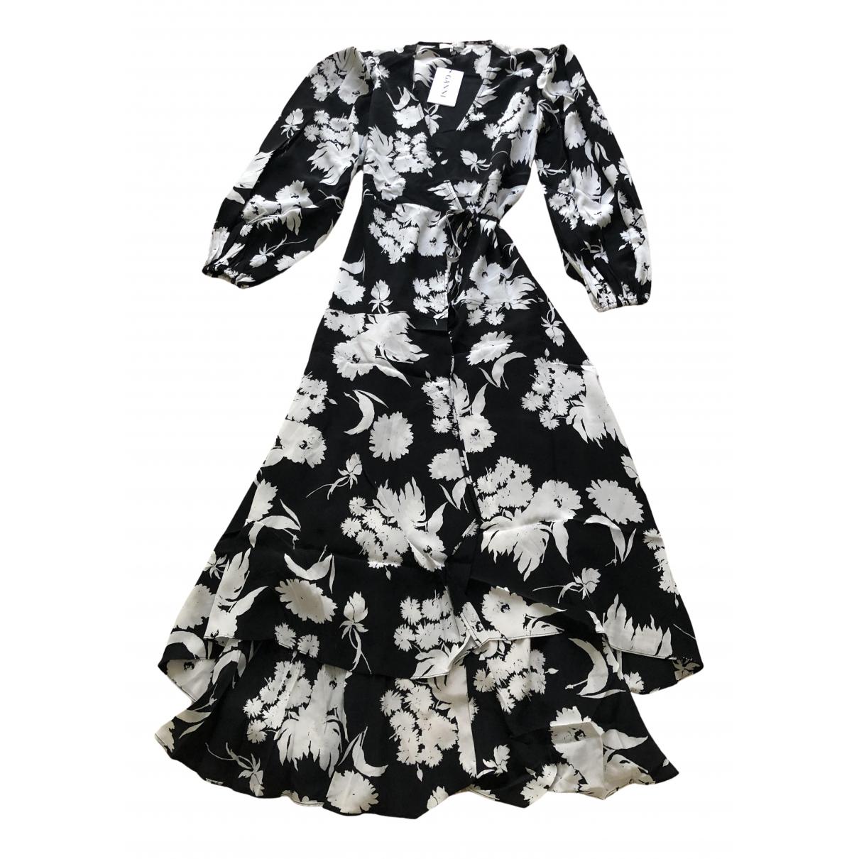Ganni N Black Silk dress for Women 36 FR