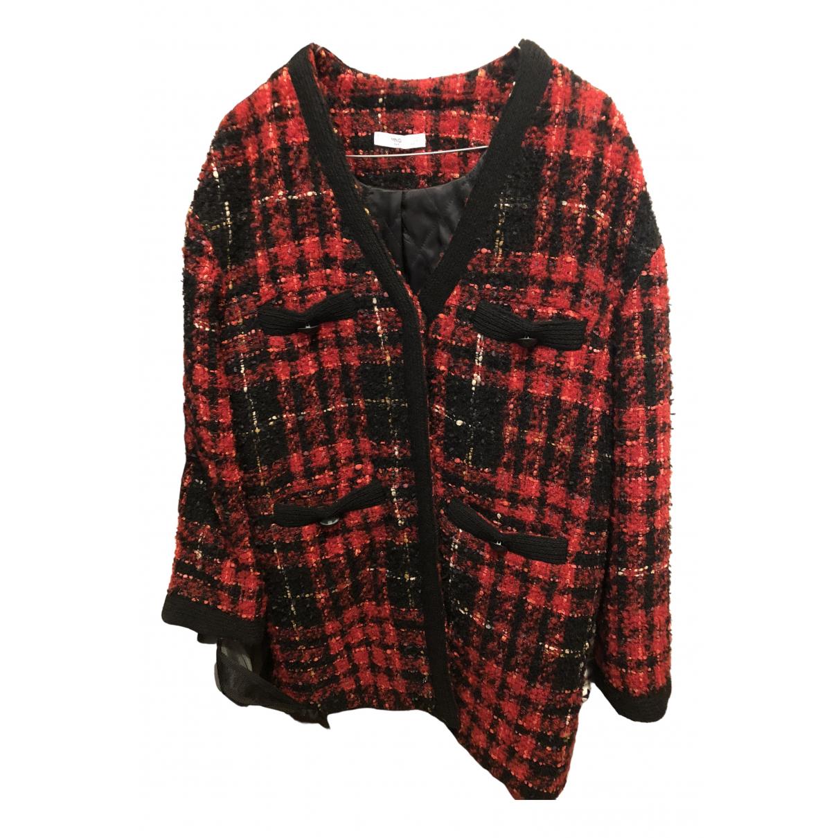 Mango - Veste   pour femme en tweed - rouge