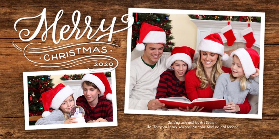 Christmas Photo Cards 4x8 Flat Card Set, 85lb, Card & Stationery -2020 Christmas Merry Modern by Tumbalina