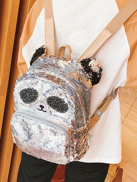 Milanoo Sweet Lolita Bag Lentejuelas Panda Animal PU Mochila de cuero