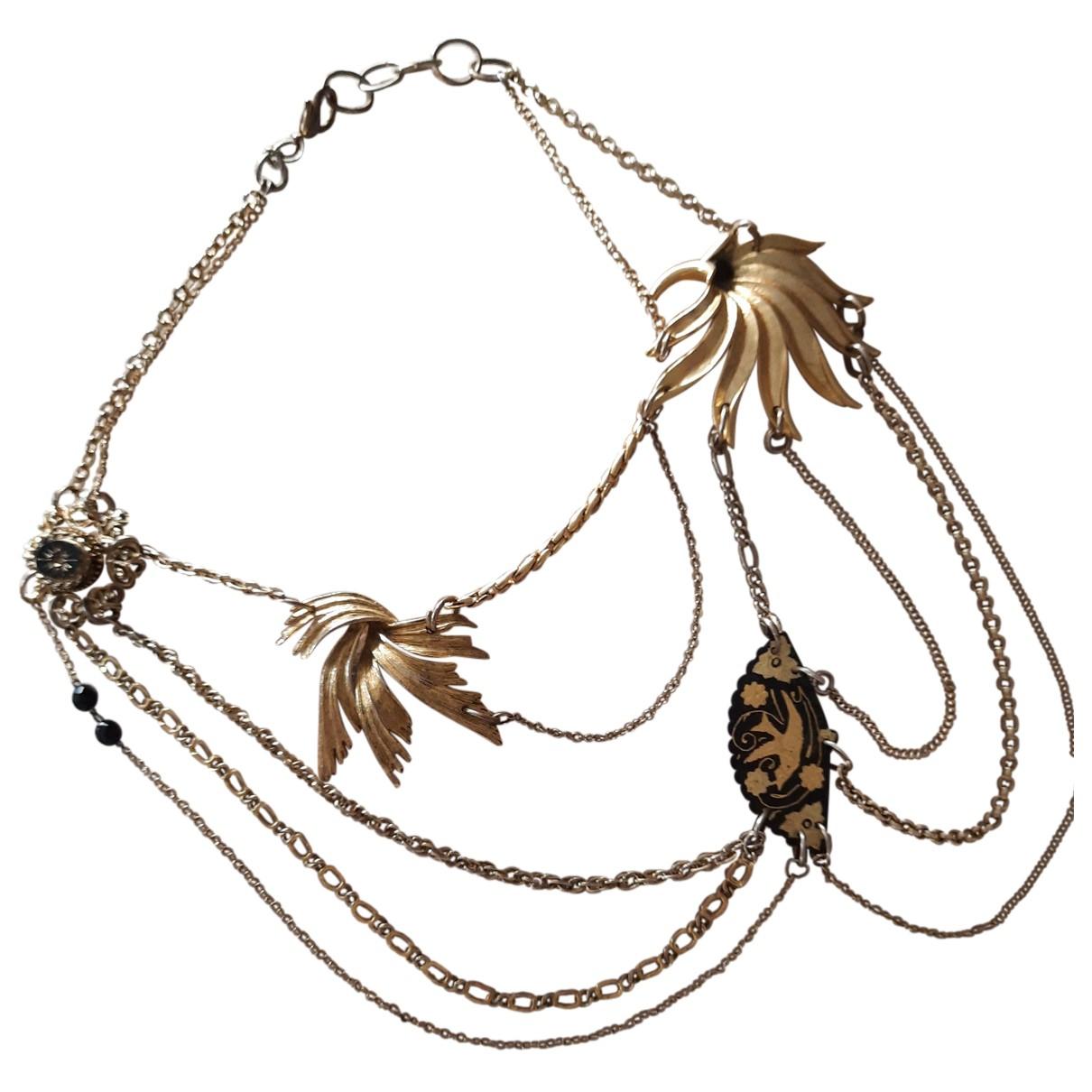 Non Signé / Unsigned Motifs Floraux Gold Metal necklace for Women N