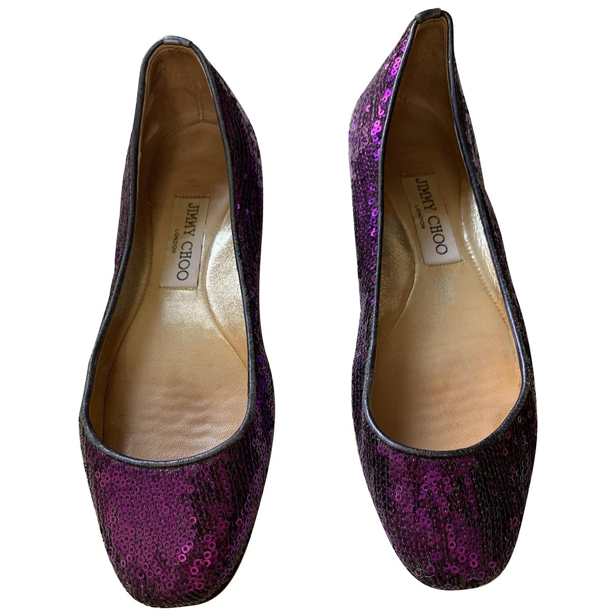 Jimmy Choo \N Purple Glitter Ballet flats for Women 36.5 IT