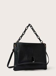 Simple Flap Chain Satchel Bag