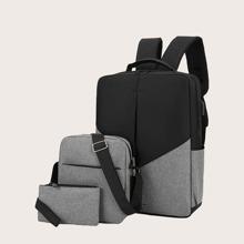 3 piezas set mochila de hombres de dos colores