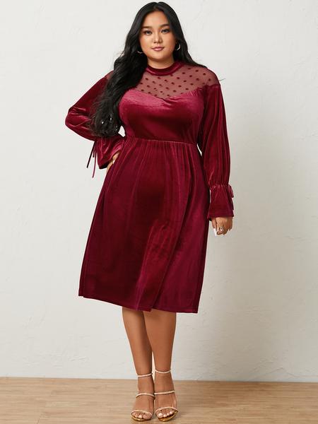 YOINS Plus Size Halloween Turtleneck Patchwork Long Sleeves Midi Dress
