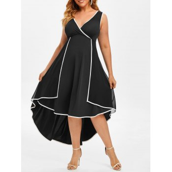 Plus Size Contrast Trim Overlay High Low Dress