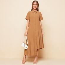 Single Breasted Asymmetrical Pleated Hem Dress