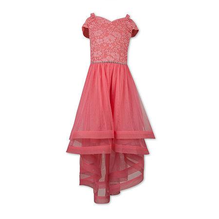 Speechless Little & Big Girls Embellished Short Sleeve Cold Shoulder Sleeve Party Dress, 10 , Red