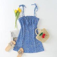 Vestidos Nudo floral de margarita Azul electrico Bohemio