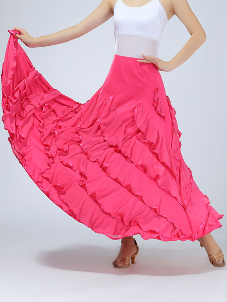 Milanoo Ballroom Dance Costume Women's Red Performance Maxi Skirt
