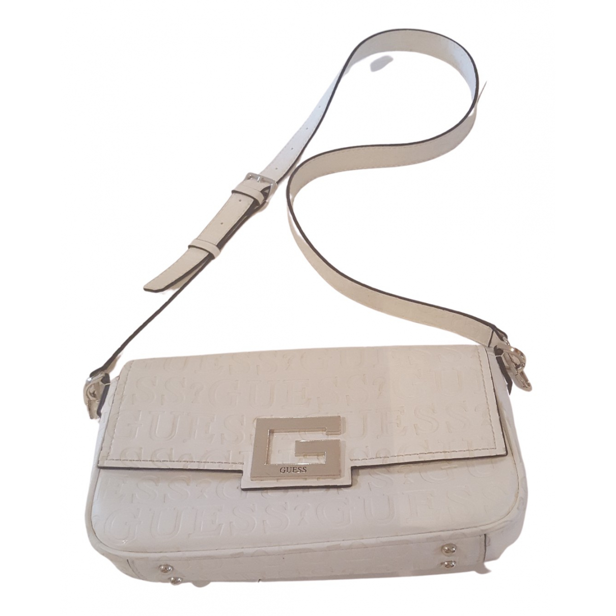 Guess \N Clutch in  Weiss Leder