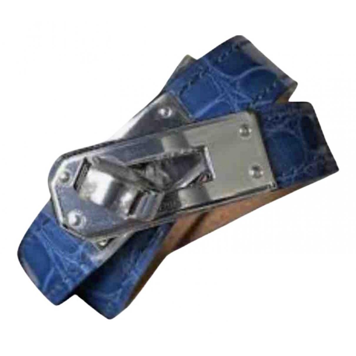Hermes Kelly Double Tour Armband in  Blau Aligator