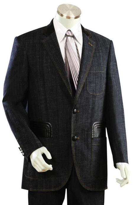 Mens Brass Button Black Plain Notch Lapel Zoot Suit