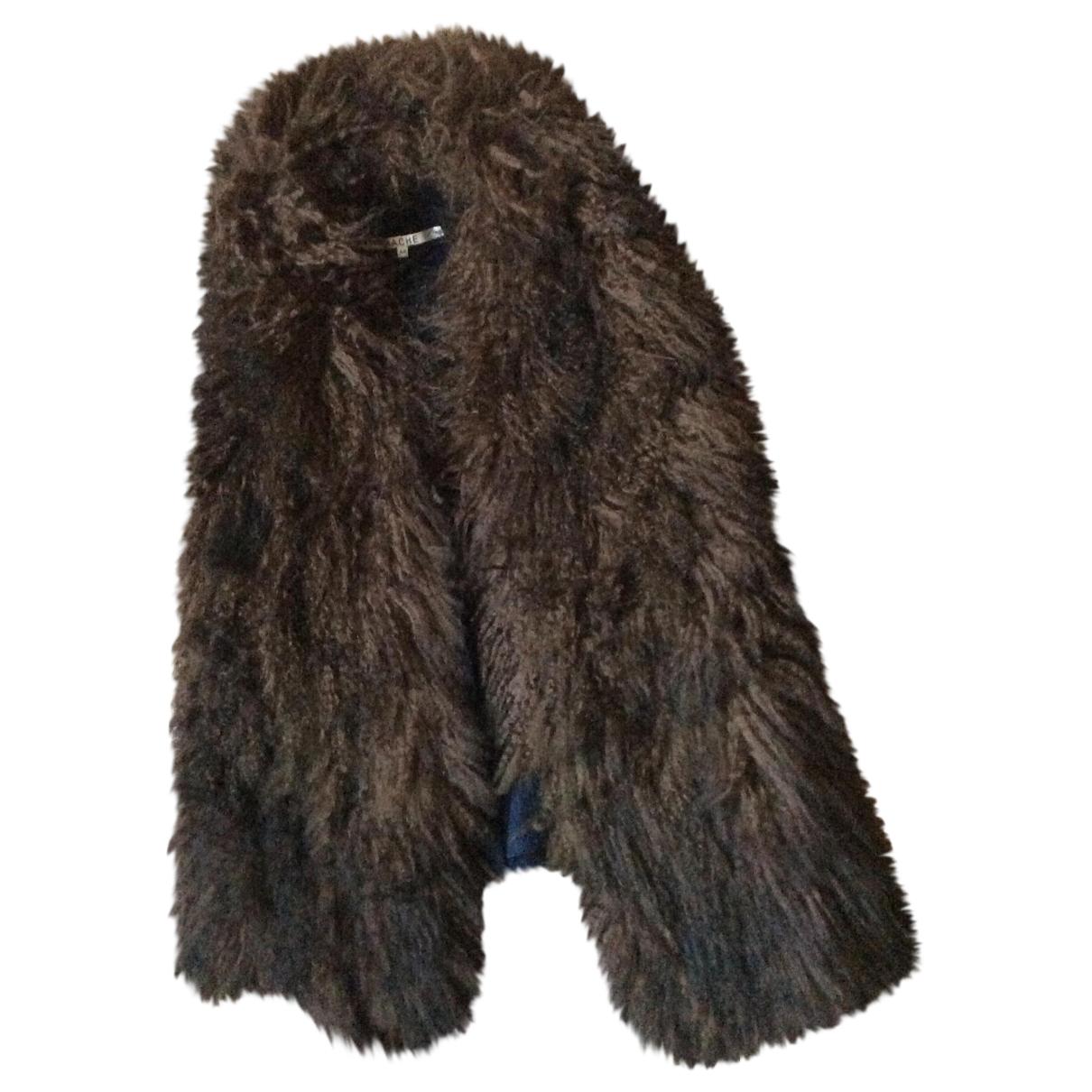 Hache - Veste   pour femme en agneau de mongolie - marron