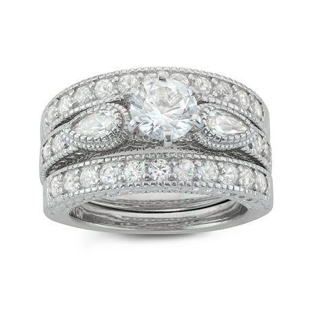 Womens Lab Created White Sapphire Sterling Silver Round Stackable Ring, 7 , No Color Family