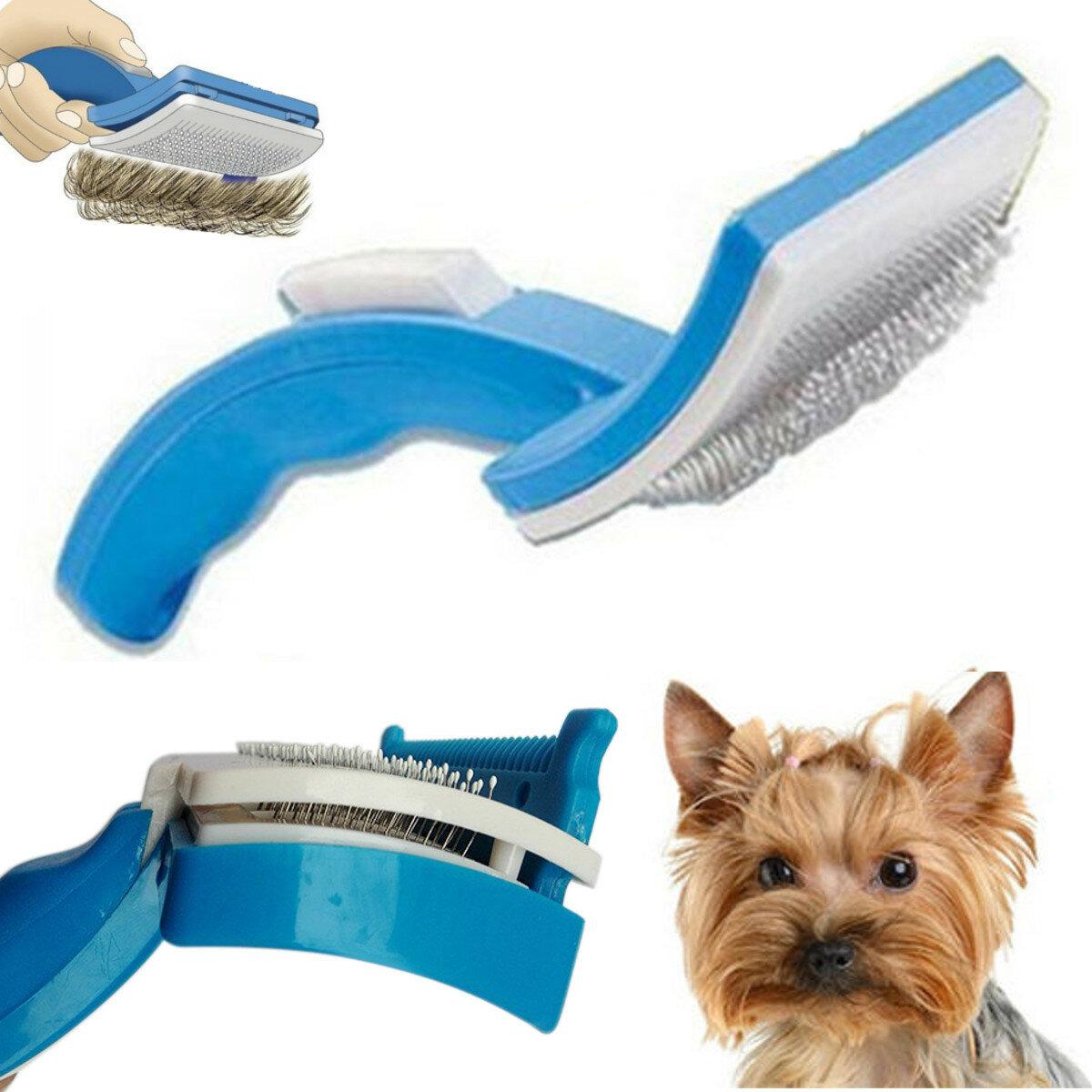 Pet Dog Cat Grooming Self Cleaning Pet Brush Comb Hair Fur Trimmer Shedding Tool
