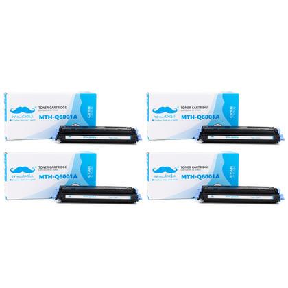 Compatible HP 124A Q6001A cartouche de toner cyan - Moustache - 4/paquet