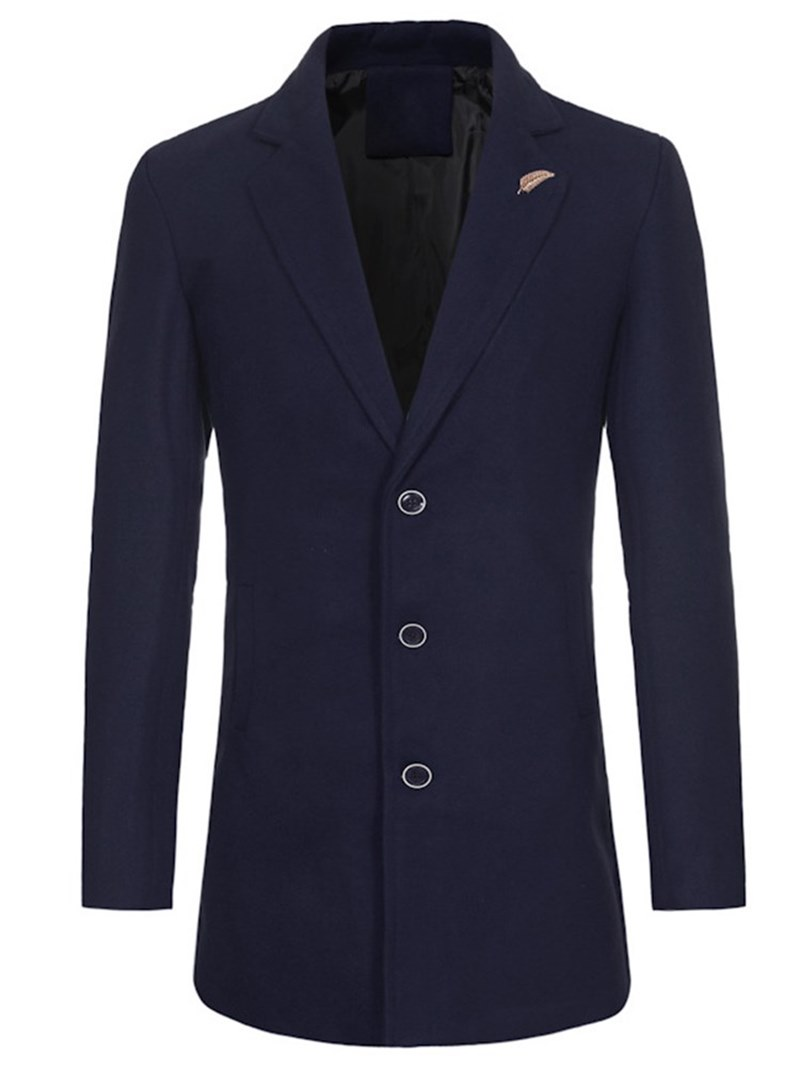 Ericdress Plain Slim Mid-Length Mens Casual Trench Coats