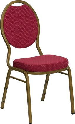 FD-C04-ALLGOLD-2804-GG HERCULES Series Teardrop Back Stacking Banquet Chair with Burgundy Patterned Fabric and 2.5'' Thick Seat - Gold