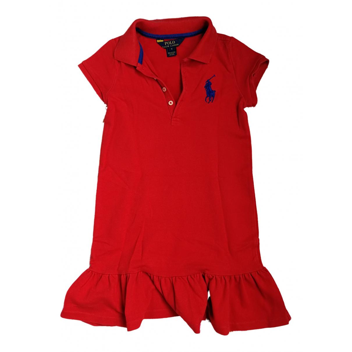 Polo Ralph Lauren - Robe    pour enfant en coton - rouge