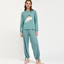 PJM conjunto de pijama pullover con estampado de figura de hombros caidos con pantalones con nudo