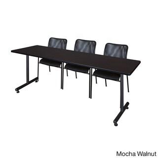 Regency Seating Kobe 84-inch Wide x 24-inch Deep Training Table and 3 Mario Black Stack Chairs (Mocha Walnut)