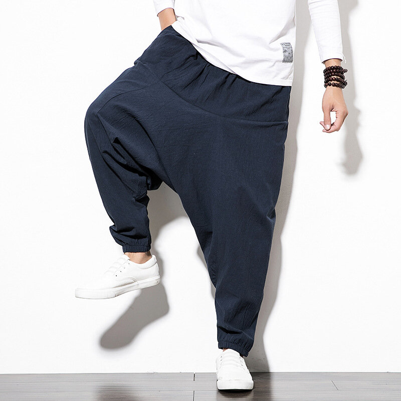 Mens National Style Hanging Pants Loose Elastic Waist Plain Casual Harem Pants