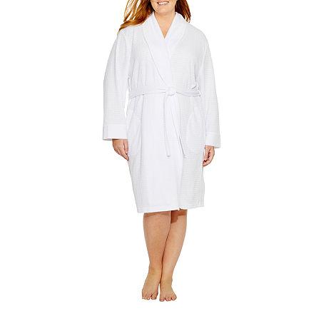 Liz Claiborne Plus Size Spa Robe, 1x , White