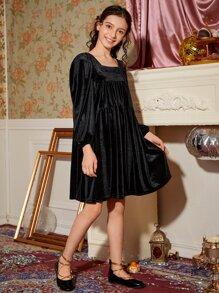 Girls Square Neck Lantern Sleeve Velvet Smock Dress