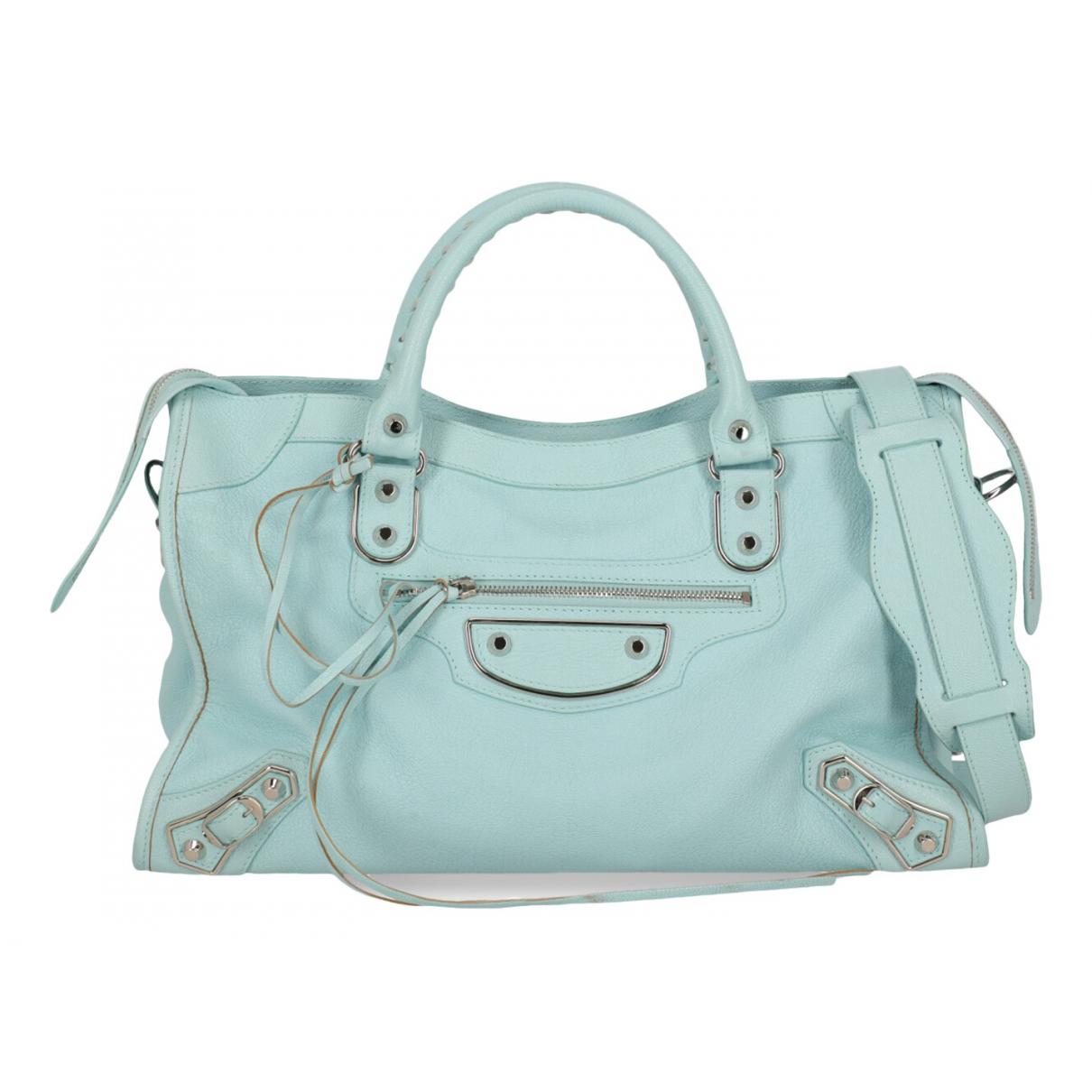 Balenciaga Classic Metalic Blue Leather handbag for Women N