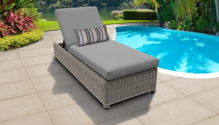 Coast Collection COAST-W-1x-GREY Wicker Patio Chaise with Wheels - Beige and Grey