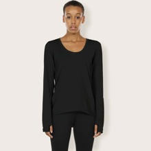 Scoop Neck Solid Thumb Hole Sports Tee