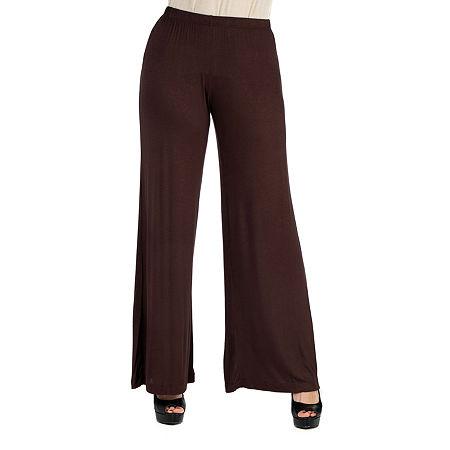 24/7 Comfort Apparel Comfortable Solid Palazzo Pants, 1x , Brown