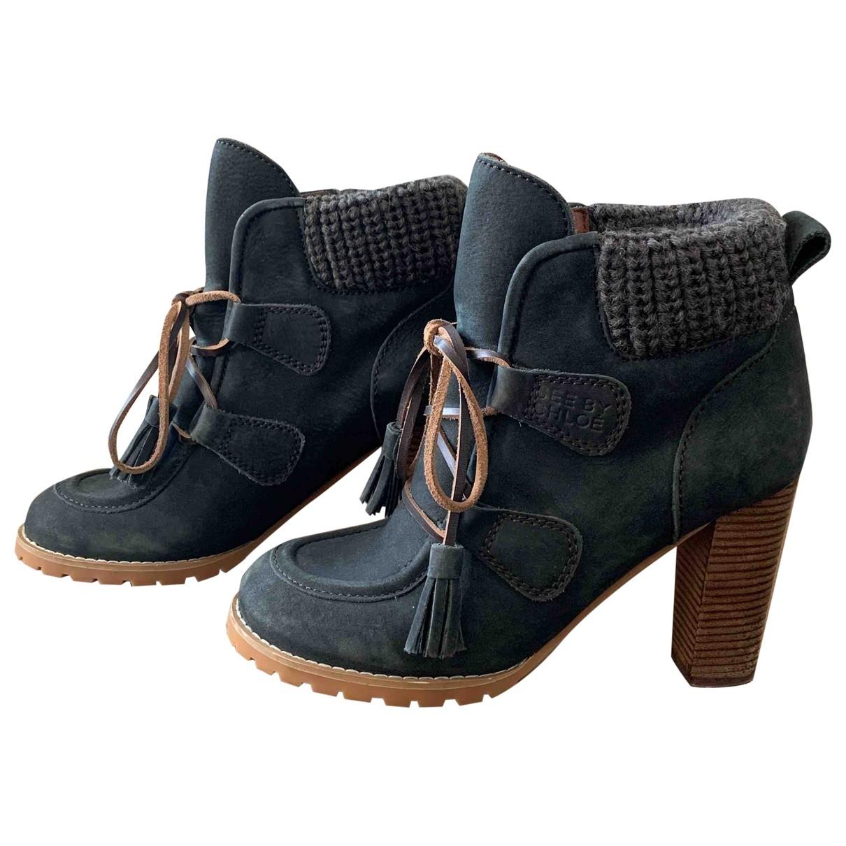 See By Chloe - Boots   pour femme en cuir - bleu