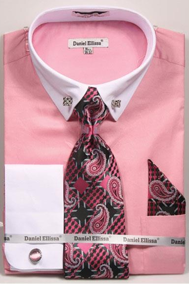 Men's Pink Solid Pattern French Cuff 100% Cotton Shirt Tie & Hanky Set