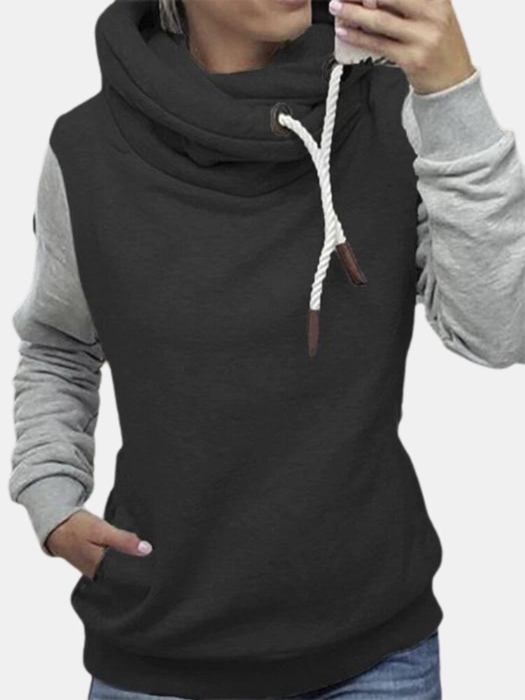 Casual Patchwork Long Sleeve High-neck Plus Size Sweatshirt