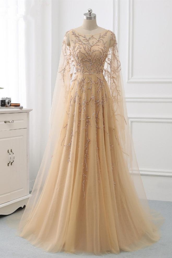 BMbridal Elegant Jewel Long Sleeves Ruffle Prom Dresses with Beadings Online