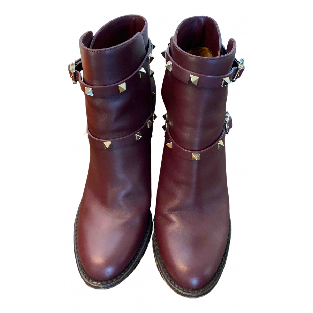 Valentino Garavani - Boots Rockstud pour femme en cuir - bordeaux