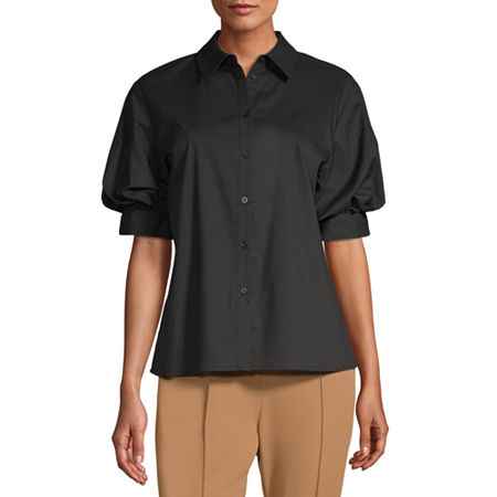 Worthington Womens 3/4 Sleeve Regular Fit Button-Down Shirt, Medium , Black
