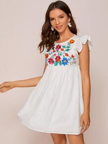 Ruffle Armhole Embroidery Floral Smock Dress