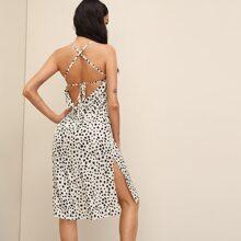 Dalmatian Print Criss-cross Tie Back Split Hem Dress