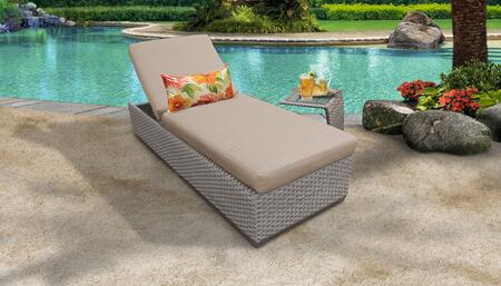 Monterey Collection MONTEREY-1x-ST-WHEAT Patio Set with 1 Chaise   1 Side Table - Beige and Wheat