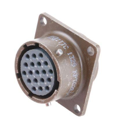 ITT Cannon , KPT 19 Way Box Mount MIL Spec Circular Connector Receptacle, Socket Contacts,Shell Size 14, Bayonet Coupling